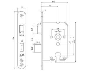 Insteekslot Inbouwslot Doornmaat 50 mm SKG