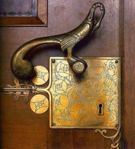 Art Deco antiek slot met beslag Slotenmaker Den Haag