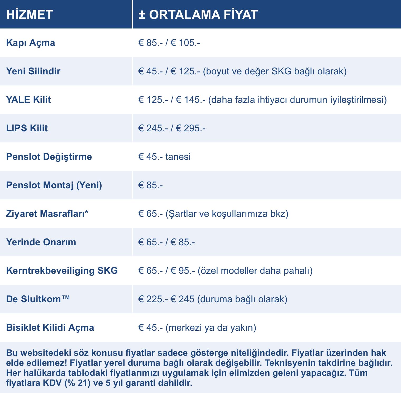 Fiyatlar Çılıngır Lahey Slotenmaker Den Haag