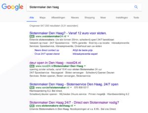 Slotenmaker Den Haag zoekresultaten Google